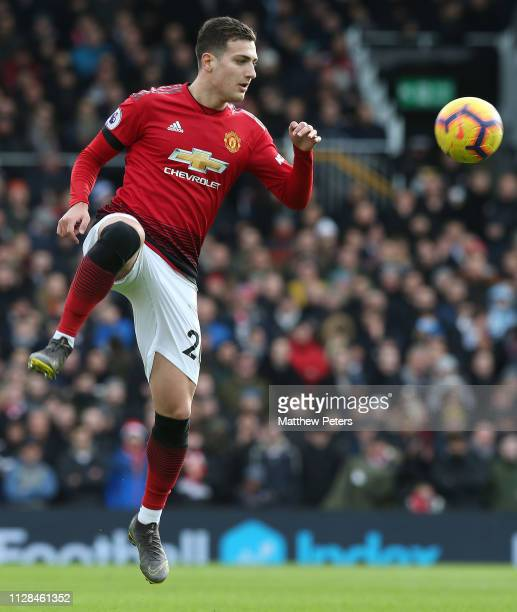 Diogo Dalot of Manchester United in action during the Premier League match between Fulham FC and Manchester United at Craven Cottage on February 09...