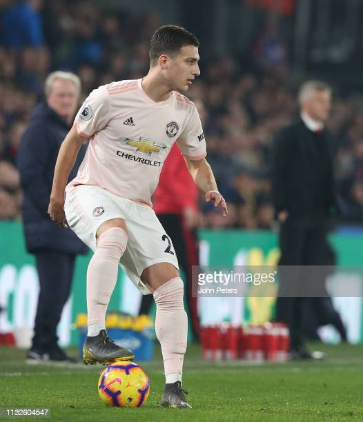 Diogo Dalot of Manchester United in action during the Premier League match between Crystal Palace and Manchester United at Selhurst Park on February...