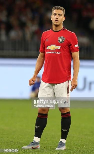Diogo Dalot of Manchester United in action during the preseason friendly match between Manchester United and Leeds United at Optus Stadium on July 17...