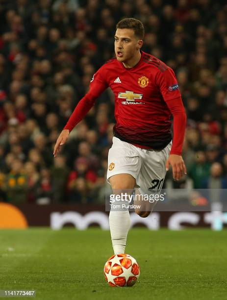 Diogo Dalot of Manchester United in action during the UEFA Champions League Quarter Final first leg match between Manchester United and FC Barcelona...
