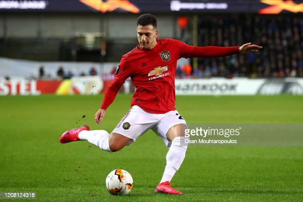 Diogo Dalot of Manchester United in action during the UEFA Europa League round of 16 first leg match between Club Brugge and Manchester United at Jan...