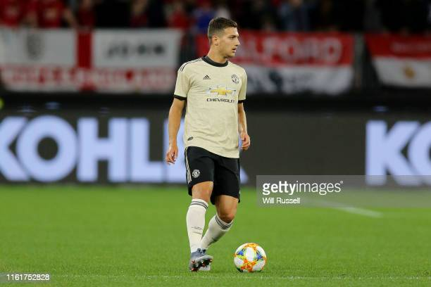 Diogo Dalot of Manchester United looks to pass the ball during the match between the Perth Glory and Manchester United at Optus Stadium on July 13...