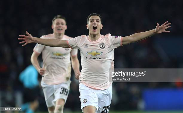 Diogo Dalot of Manchester United manager celebrates at full time during the UEFA Champions League Round of 16 Second Leg match between Paris...