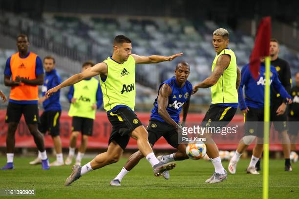 Diogo Dalot of Manchester United passes the ball during a Manchester United training session at the WACA on July 11 2019 in Perth Australia