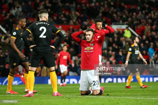 Diogo Dalot of Manchester United reacts after a missed chance during the Premier League match between Manchester United and Wolverhampton Wanderers...