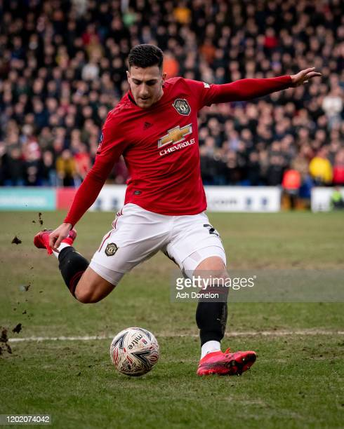 Diogo Dalot of Manchester United scores their second goal during the FA Cup Fourth Round match between Tranmere Rovers and Manchester United at...