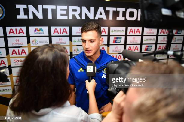 Diogo Dalot of Manchester United speaks to media reporters at the mixed zone after the 2019 International Champions Cup match between Manchester...