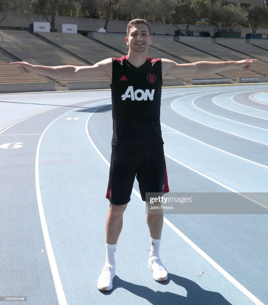 Diogo Dalot of Manchester United stretches during a Manchester United pre-season training session at UCLA on July 20, 2018 in Los Angeles, California.