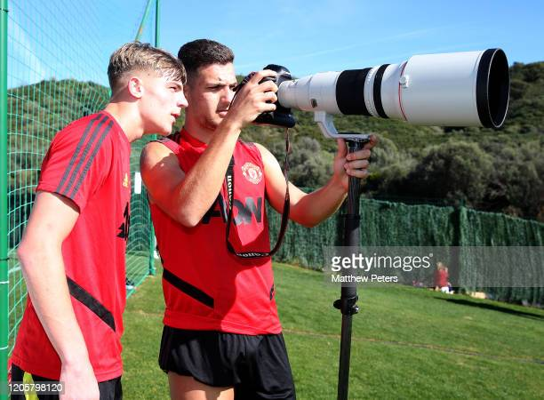 Diogo Dalot of Manchester United takes a photo during a first team training session on February 12, 2020 in Malaga, Spain.
