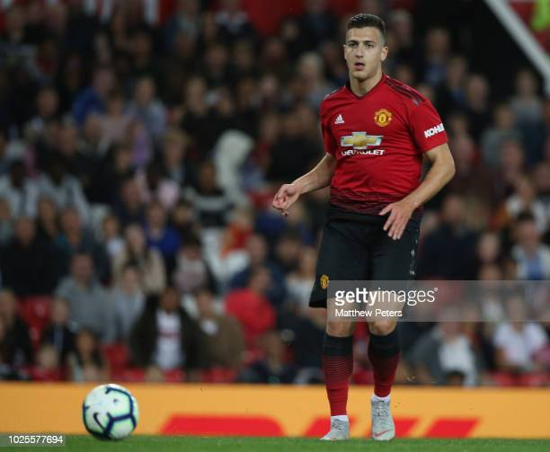Diogo Dalot of Manchester United U23s in action during the Premier League 2 match between Manchester United U23s and Stoke City U23s at Old Trafford...