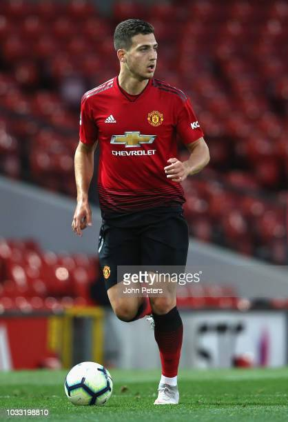 Diogo Dalot of Manchester United U23s in action during the Premier League 2 match between Manchester United U23s and Reading U23s at Old Trafford on...