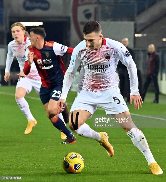Diogo Dalot of Milan in action during the Serie A match between Cagliari Calcio and AC Milan at Sardegna Arena on January 18, 2021 in Cagliari, Italy.