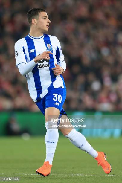 Diogo Dalot of Porto in action during the UEFA Champions League Round of 16 Second Leg match between Liverpool and FC Porto at Anfield on March 6...