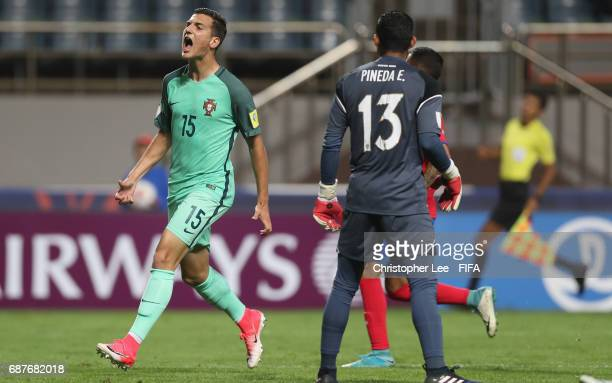 Diogo Dalot of Portugal shows his frustration after he has a chance to score during the FIFA U20 World Cup Korea Republic 2017 group C match between...