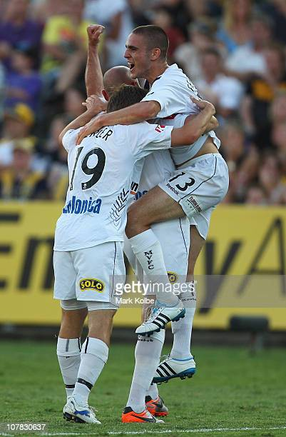 Diogo Ferreira of the Victory celebrates scoring a goal during the round 21 ALeague match between the Central Coast Mariners and the Melbourne...
