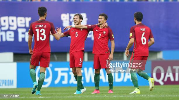 Diogo Goncalves of Portugal celebrates with team mates after scoring their second goal during the FIFA U20 World Cup Korea Republic 2017 Quarter...