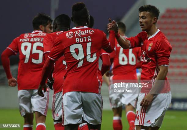 Diogo Goncalves of SL Benfica B celebrates with teammates after scoring a goal during the Segunda Liga match between SL Benfica B and FC Vizela at...