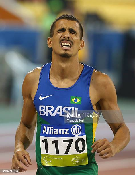 Diogo Jeronimo Da Silva in action during the Men's 100m T12 heats during the Evening Session on Day One of the IPC Athletics World Championships at...