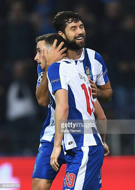 Diogo Jota of FC Porto celebrates scoring his sides fifth goal with Felipe of FC Porto during the UEFA Champions League Group G match between FC...