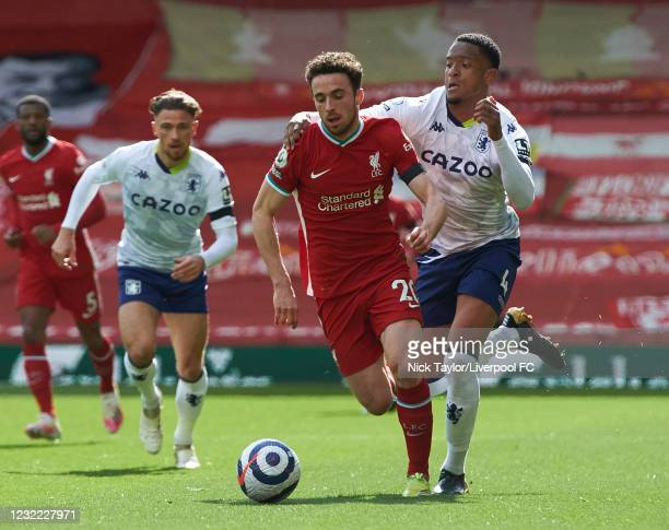 Diogo Jota of Liverpool and Ezri Konsa of Aston Villa in action during the Premier League match between Liverpool and Aston Villa at Anfield on April...