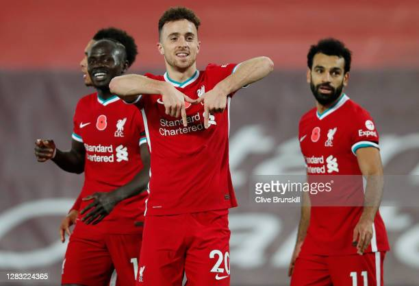 Diogo Jota of Liverpool celebrates after he scores his team's second goal during the Premier League match between Liverpool and West Ham United at...