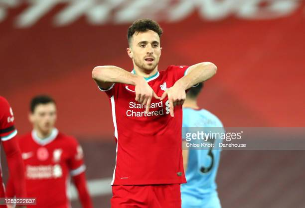 Diogo Jota of Liverpool celebrates scoring his teams second goal which was then disallowed by VAR during the Premier League match between Liverpool...