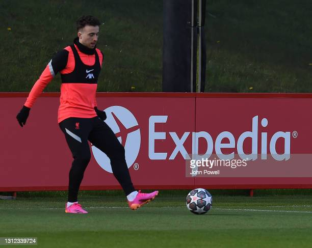 Diogo Jota of Liverpool during a training session at AXA Training Centre on April 13, 2021 in Kirkby, England.