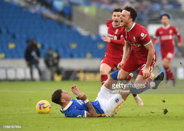 Diogo Jota of Liverpool during the Premier League match between Brighton & Hove Albion and Liverpool at American Express Community Stadium on...