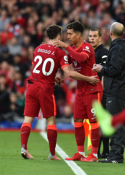 Diogo Jota of Liverpool goes off during the Premier League match between Liverpool and Manchester City at Anfield on October 03, 2021 in Liverpool,...