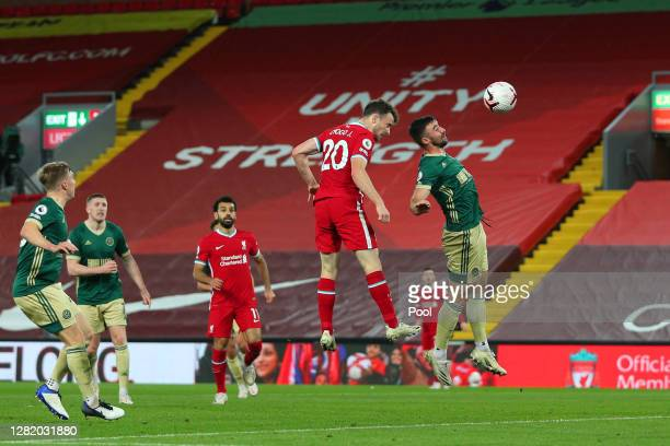 Diogo Jota of Liverpool scores his team's second goal during the Premier League match between Liverpool and Sheffield United at Anfield on October...