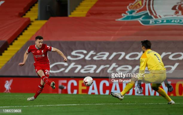 Diogo Jota of Liverpool scores his team's second goal during the Premier League match between Liverpool and West Ham United at Anfield on October 31,...