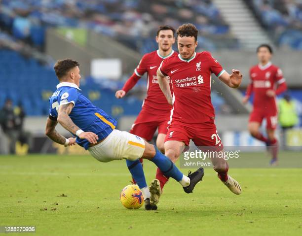 Diogo Jota of Liverpool with Brighton & Hove Albion's Ben White during the Premier League match between Brighton & Hove Albion and Liverpool at...