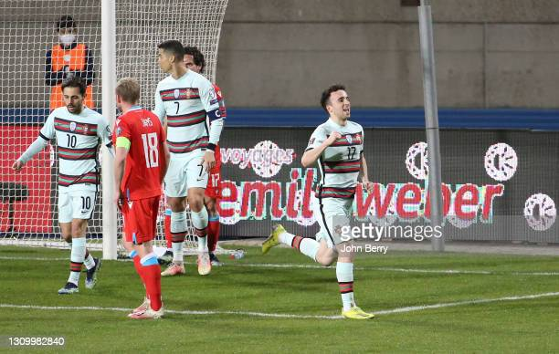 Diogo Jota of Portugal celebrates his goal during the FIFA World Cup 2022 Qatar qualifying match between Luxembourg and Portugal at Josy Barthel...
