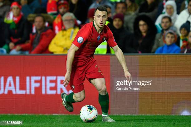 Diogo Jota of Portugal in action during the UEFA Euro 2020 Qualifier match between Portugal and Lithuania at Algarve Stadium on November 14, 2019 in...