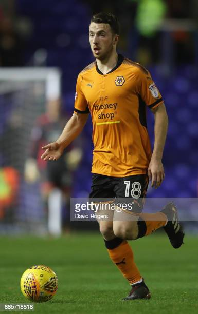 Diogo Jota of Wolverhampton runs with the ball during the Sky Bet Championship match between Birmingham City and Wolverhampton Wanderers at St...