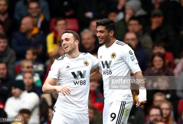 Diogo Jota of Wolverhampton Wanderers and Raul Jimenez of Wolverhampton Wanderers celebrates during the Premier League match between Watford FC and...