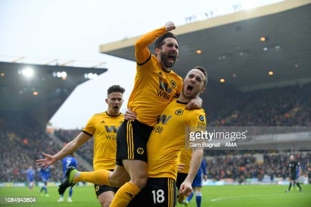 Diogo Jota of Wolverhampton Wanderers celebrates after scoring a goal to make it 10 with Joao Moutinho of Wolverhampton Wanderers during the Premier...