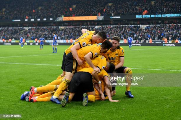 Diogo Jota Of Wolverhampton Wanderers Celebrates After Scoring A Goal To Make It  During The Wolverhampton Wanderers V Leicester