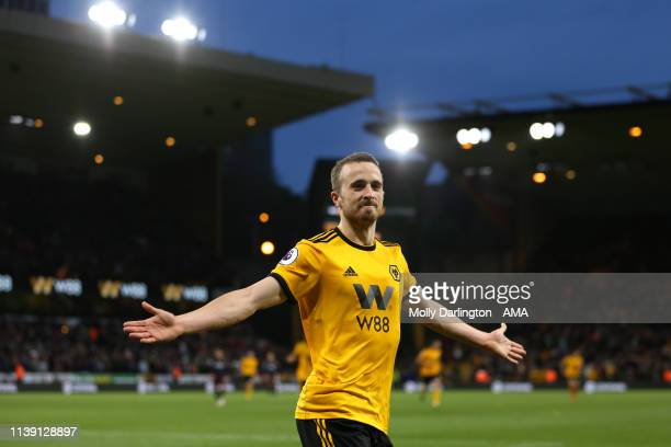 Diogo Jota of Wolverhampton Wanderers celebrates after scoring a goal to make it 3-0 during the Premier League match between Wolverhampton Wanderers...