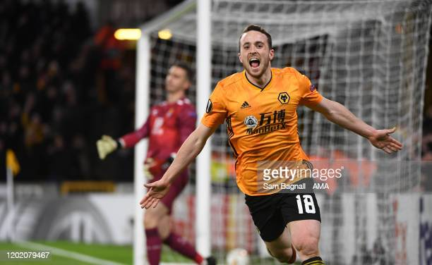 Diogo Jota of Wolverhampton Wanderers celebrates after scoring a goal to make it 3-0 during the UEFA Europa League round of 32 first leg match...