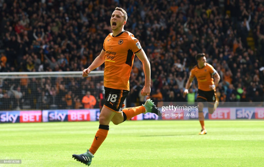Diogo Jota of Wolverhampton Wanderers celebrates after scoring a goal to make it 1-0 during the Sky Bet Championship match between Wolverhampton and Millwall at Molineux on September 9, 2017 in Wolverhampton, England.