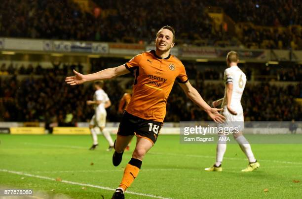 Diogo Jota of Wolverhampton Wanderers celebrates after scoring a goal to make it 31 during the Sky Bet Championship match between Wolverhampton and...