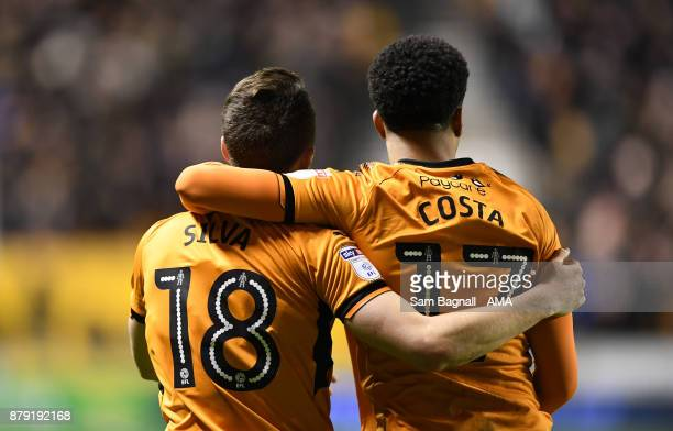 Diogo Jota of Wolverhampton Wanderers celebrates after scoring a goal to make it 51 with Helder Costa of Wolverhampton Wanderers during the Sky Bet...