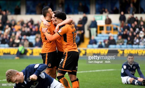 Diogo Jota of Wolverhampton Wanderers celebrates after scoring a goal to make it 11 with Helder Costa during the Sky Bet Championship match between...