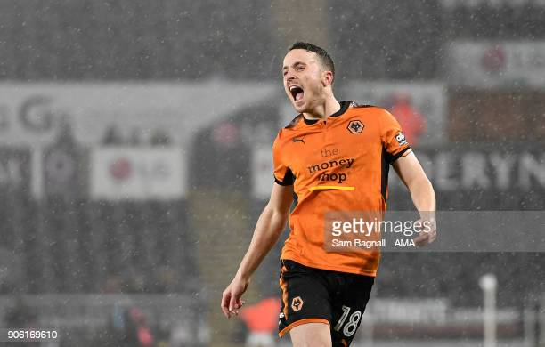 Diogo Jota of Wolverhampton Wanderers celebrates after scoring a goal to make it 11 during The Emirates FA Cup Third Round Replay between Swansea...