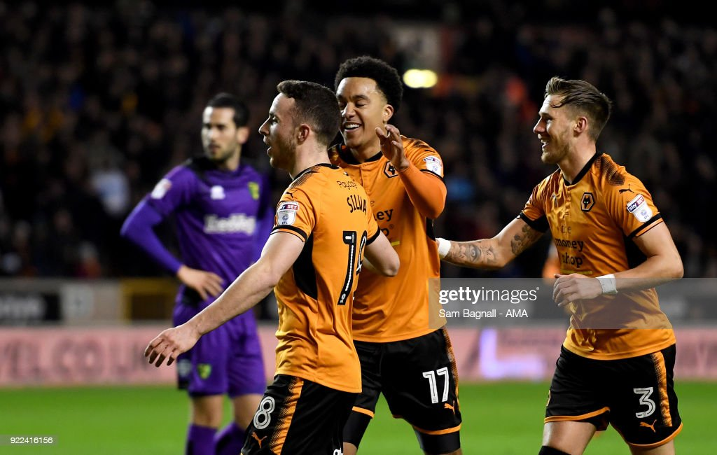 Diogo Jota of Wolverhampton Wanderers celebrates after scoring a goal to make it 1-0 during the Sky Bet Championship match between Wolverhampton Wanderers and Norwich City at Molineux on February 20, 2018 in Wolverhampton, England.