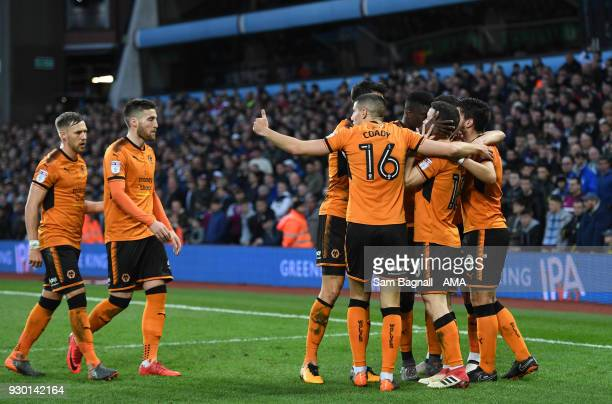 Diogo Jota of Wolverhampton Wanderers celebrates after scoring a goal to make it 11 during the Sky Bet Championship match between Aston Villa and...