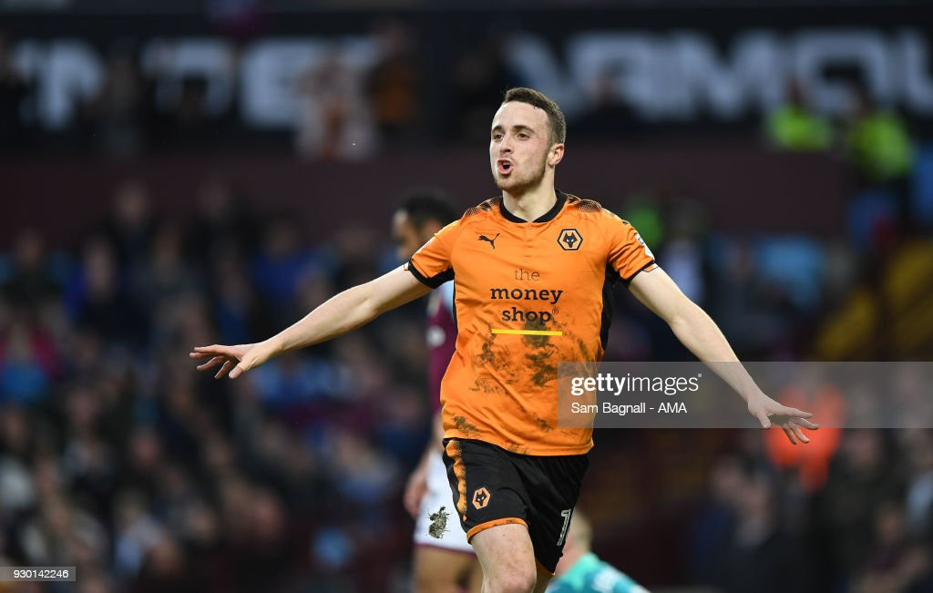 Diogo Jota of Wolverhampton Wanderers celebrates after scoring a goal to make it 1-1 during the Sky Bet Championship match between Aston Villa and Wolverhampton Wanderers at Villa Park on March 10, 2018 in Birmingham, England.