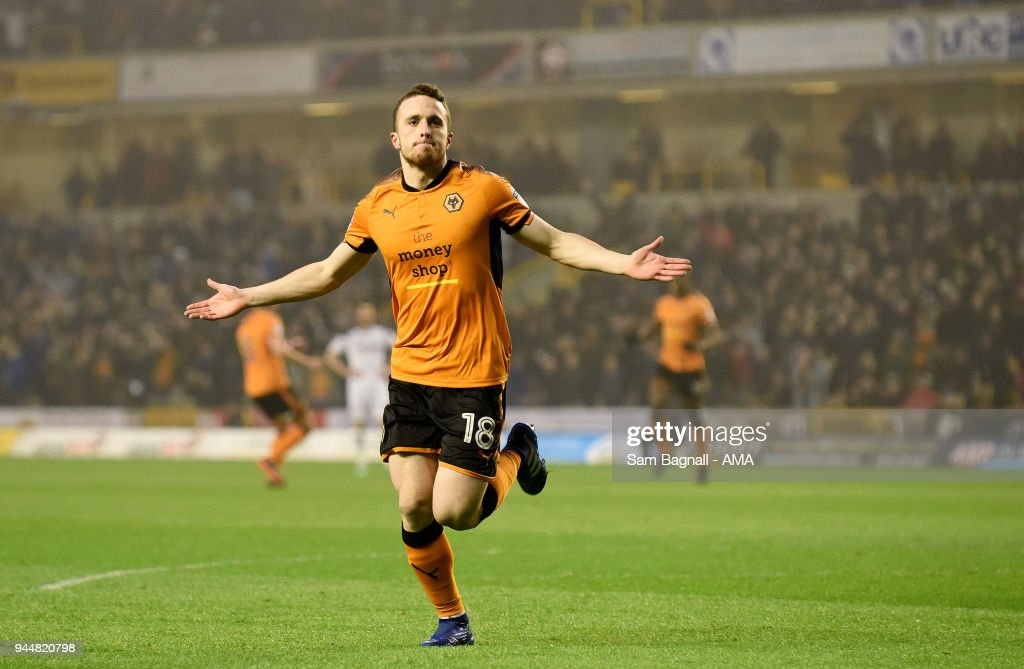 Diogo Jota of Wolverhampton Wanderers celebrates after scoring a goal to make it 1-0 during the Sky Bet Championship match between Wolverhampton Wanderers and Derby County at Molineux on April 11, 2018 in Wolverhampton, England.
