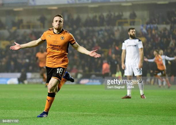 Diogo Jota of Wolverhampton Wanderers celebrates after scoring a goal to make it 10 during the Sky Bet Championship match between Wolverhampton...